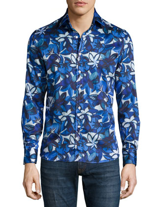 Large Floral-Print Sport Shirt, Blue/White
