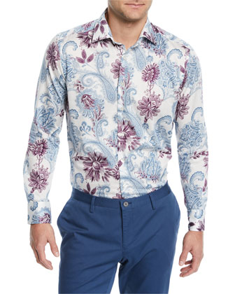 Paisley-Print Long-Sleeve Sport Shirt, White/Multi