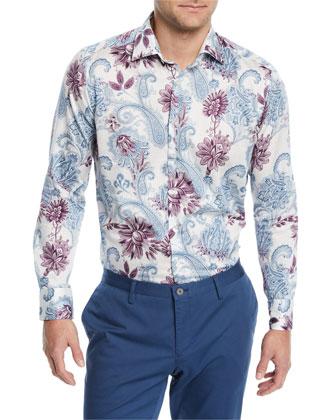 Paisley-Print Long-Sleeve Sport Shirt, White/Multi