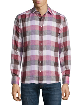 Large Check Linen Shirt, Pink/Brown
