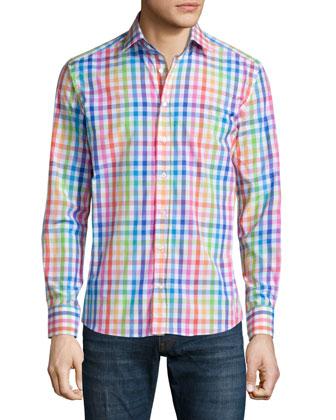 Multicolored Check Sport Shirt, White Multi