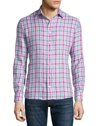 Check Long-Sleeve Linen Sport Shirt, Pink/Gray/Lavender