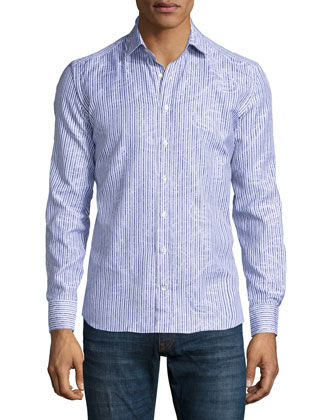 Striped Paisley-Print Sport Shirt, White/Blue