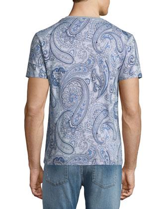 Paisley-Print V-Neck Tee & Five-Pocket Faded Stretch Denim Jeans
