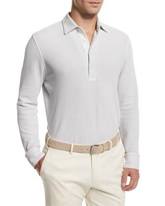 Huck Lace Long-Sleeve Polo Shirt, Silver Gray