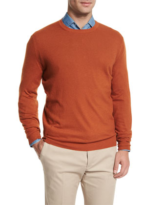 Baby Cashmere Crewneck Sweater, Orange
