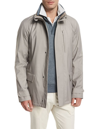Cashmere-Blend Tech Storm Jacket, Chateau