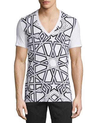 Interlock Star-Print V-Neck Tee, Black/White