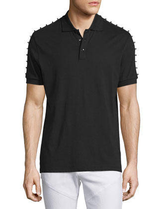 Studded Short-Sleeve Polo Shirt, Black