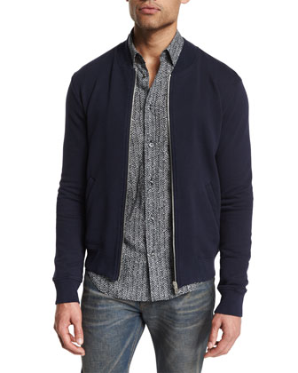 Zip-Up Knit Bomber Jacket, Herringbone Sport Shirt & Resin-Coated Slim-Fit ...