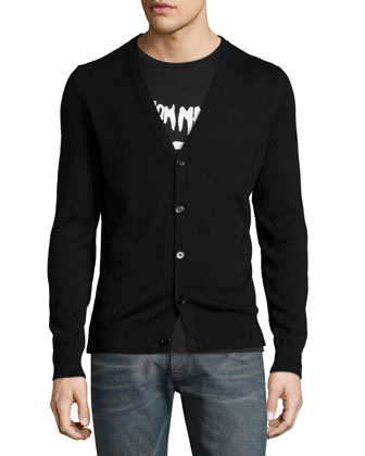 Button-Down Cardigan with Leather Elbow Patches, Black