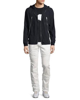 Nylon Zip-Up Hooded Jacket, Black
