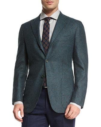 Cashmere-Blend Check Sport Coat, Teal/Navy