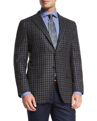 Cashmere Check Sport Coat, Gray/Black
