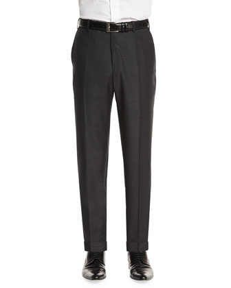 Parker Flat-Front Sharkskin Trousers, Charcoal