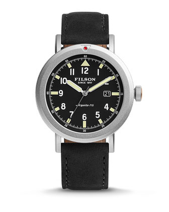 45.5mm Scout Watch with Leather Strap, Black