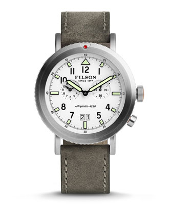 45.5mm Scout Watch with Leather Strap, White/Gray