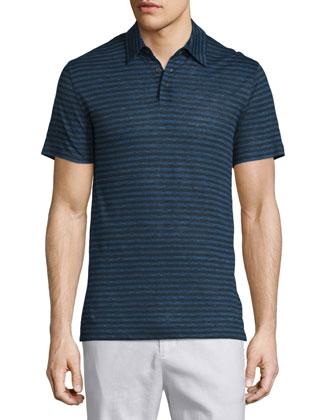 Feeder-Stripe Short-Sleeve Polo Shirt, Twilight Blue
