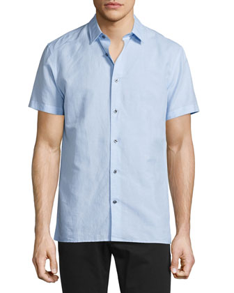 Linen-Blend Short-Sleeve Shirt, Sky Blue
