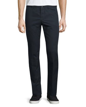 Flat-Front Cotton Chino Pants, Indigo