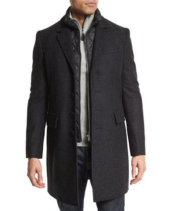 Wool-Blend Coat with Removable Gilet, Dark Charcoal