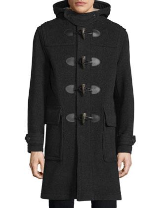 Brockhurst Hooded Duffle Long Coat, Dark Charcoal