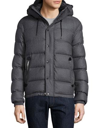 Myton Flannel Hooded Puffer Jacket, Mid Gray Melange