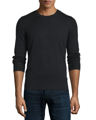 Cashmere-Cotton Sweater with Check Panels, Black