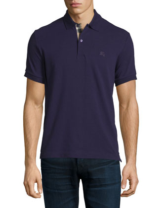 Short-Sleeve Pique Polo Shirt, Purple