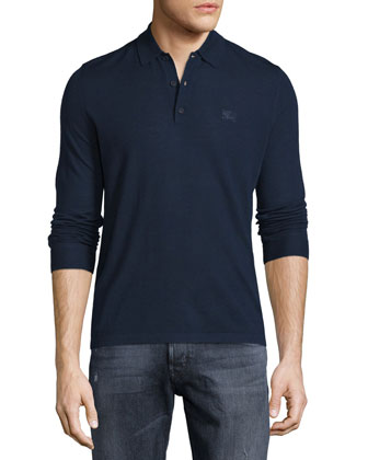 Launton Long-Sleeve Wool Polo Shirt, Navy