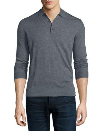 Launton Long-Sleeve Knit Polo Shirt, Mid Gray Melange
