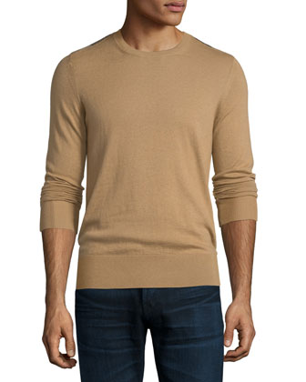 Cashmere-Cotton Sweater with Check Panels, Camel