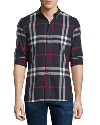 Ecclestone Lightweight Check Sport Shirt, Navy/Black