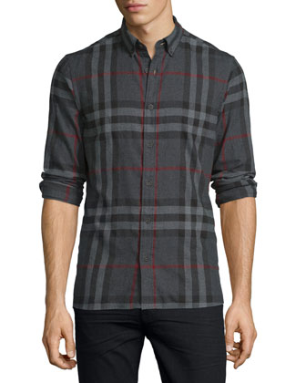 Ecclestone Check Flannel Shirt, Charcoal