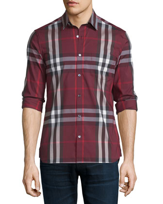 Nelson Tight-Check Sport Shirt, Claret