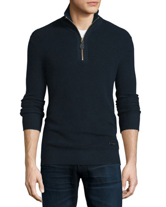 Ribbed Cashmere-Blend Half-Zip Sweater, Navy