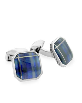 Fiber Optic Glass Cuff Links, Blue