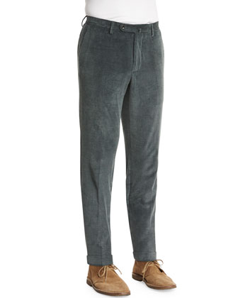 Wide-Whale Corduroy Pants, Moss Green