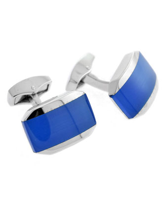 Fiber Optic Rectangular Cuff Links, Blue