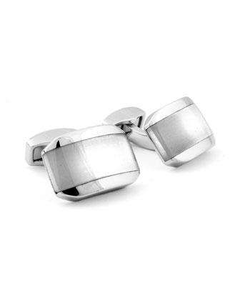 Fiber Optic Glass Rectangular Cuff Links, White