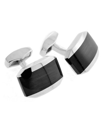 Fiber Optic Glass Cuff Links, Black