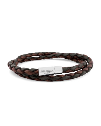 Men's Braided Leather Double-Wrap Bracelet, Brown