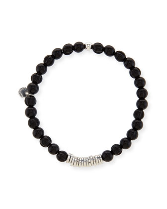 Men's Black Agate Bead Bracelet