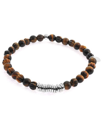 Men's Round Tiger's Eye Beaded Bracelet