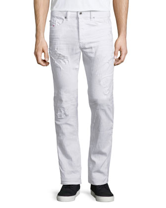 Buster Distressed Denim Jeans, White