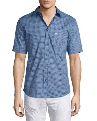 Leppa Micro-Pattern Short-Sleeve Shirt, Blue
