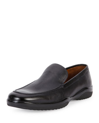 Mils Textured Leather Slip-On Loafer, Black