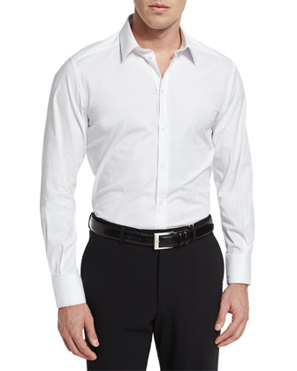Basic Long-Sleeve Sport Shirt, White