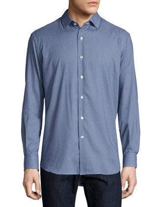 Mini Dot-Print Sport Shirt, Blue