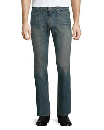 Slim-Fit Plaid Sport Shirt, Denim
